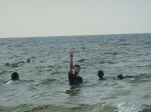 Playing at water